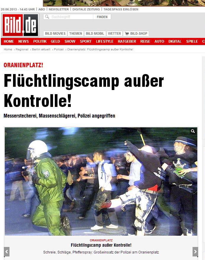 Bild lügt mit falschem Foto bei refugee camp Auseinandersetzung in Kreuzber Berlin