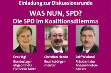 Was nun SPD Einladung zur diskussion große Koalition nachbarschaftsetage titel
