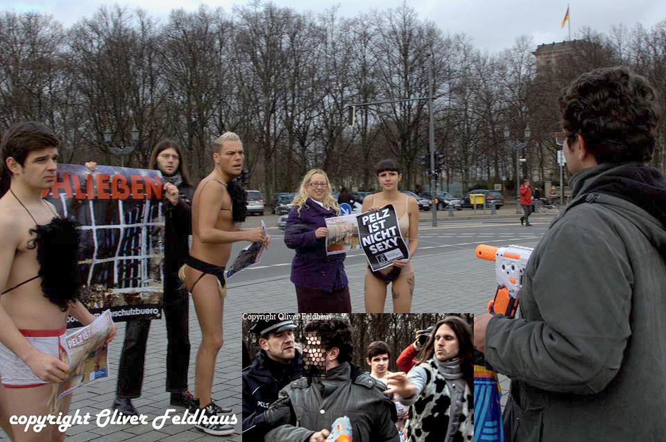 Oliver Feldhaus buttersäureanschlag auf PETA protest in Berlin