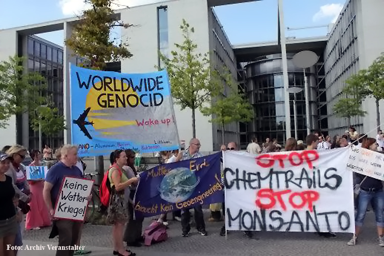 Protest in Berlin GLOBAL MARCH AGAINST CHEMTRAILS AND GEOENGINEERING