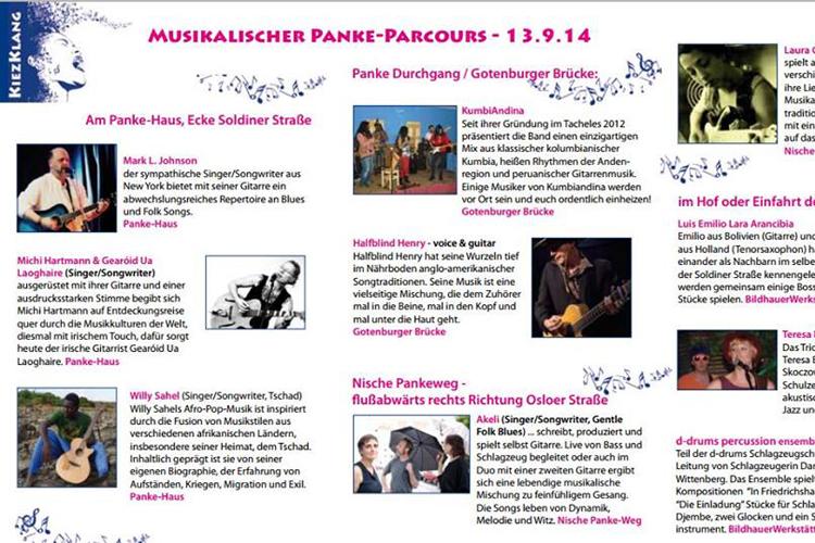 DER KIEZKLANG FLYER MIT ALLEN DETAILS ZUM PANKE-PARCOUR und den zusätzlichen Veranstaltungen im Soldiner Kiez als Beitrag zum WeddingMoabit Festival 2014