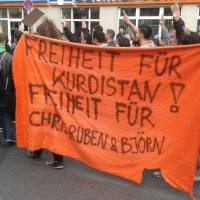 Protest für Ruben Neugebauer, Chris Grodotzki und Björn Kietzmann - Kundgebung vor der türkischen Botschaft in Berlin