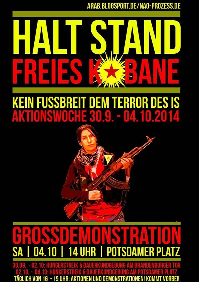halt stand kobane demo berlin potsdamer platz