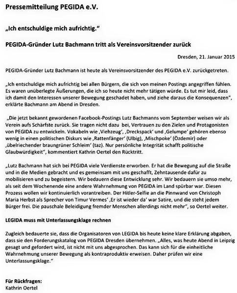 presseerklärung zu rücktritt Lutz Bachmann von Pegida