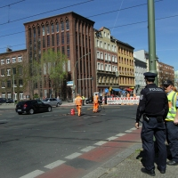 Baustelle Prinzenallee Ecke Osloer Straße verstellt