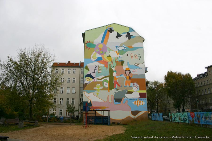 Fassadenkunstwerk der Künstlerin Marlene Jachmann Prinzenallee soldiner Kiez eV Aktuelles