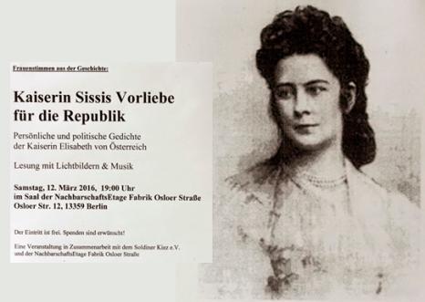 Kaiserin Sissis Vorliebe für die Republik Lesung von Diana Schaal mit Lichtbildern Musik Kopie 2