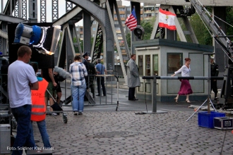 Filmdreh Präsident Aserbaidschan İlham Əliyev Stettiner Brücke Berlin (2)