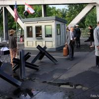 Filmdreh über Präsident von Aserbaidschan İlham Əliyev auf der Stettiner Brücke