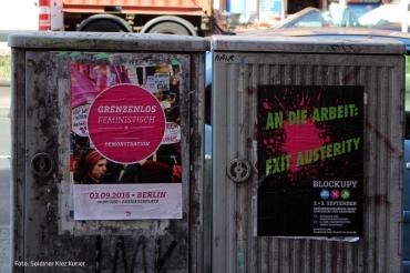 Aufstehen gegen Rassismus Grenzenlos feministisch Exit Austerity
