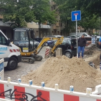 Gasleitung in der Soldiner Straße angebaggert